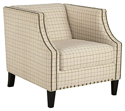 Bassett Accent Chairs 1132.Ashley Furniture Signature Design Kieran Traditional Shelter Back Checkered Accent Chair With Nailhead Trim Cream