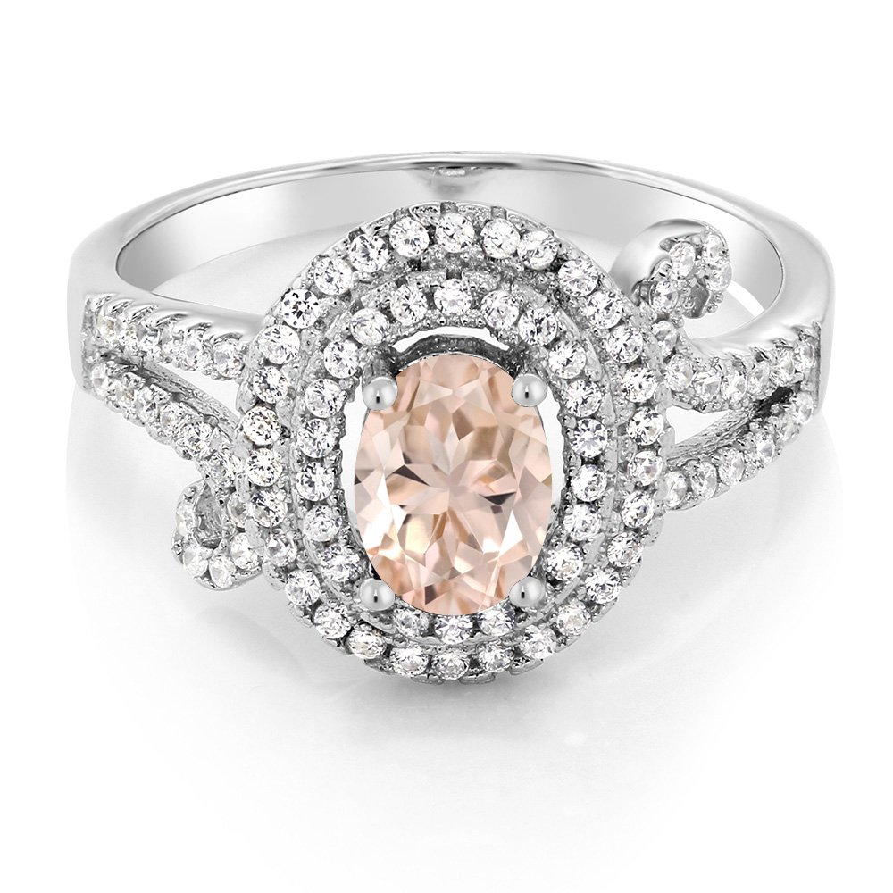 Gem Stone King 1.90 Ct Oval Peach Morganite 925 Sterling Silver Women s Ring Available 5,6,7,8,9