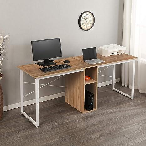 Sogeshome Large Double Workstation Desk 2 Person Computer Desk Writing Desk Home Office Desk With Storage Shelf Nsdca Hz011 200 Ok Amazon Ca Home Kitchen