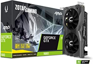ZOTAC Gaming GeForce GTX 1660 AMP 6GB GDDR5 192-bit Gaming Graphics Card, Super Compact, Ice Storm 2.0 Cooling, Wraparound Metal Back plate - ZT-T16600D-10M