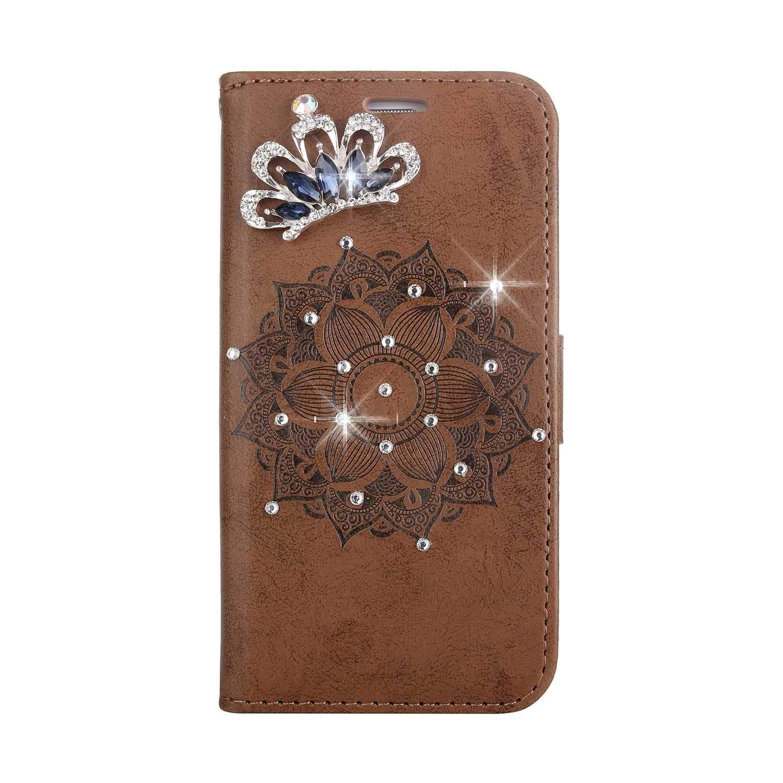 Coque iPhone X/iPhone XS, SONWO Premium PU Cuir Portefeuille de Protection Étui avec Fentes de la Carte pour Apple iPhone X/iPhone XS, Brun