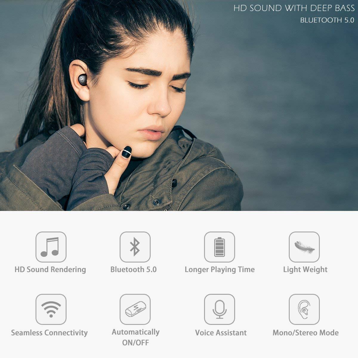 cb2913bbb94 Amazon.com: Bluetooth 5.0 Deep Bass True Wireless Headphones, Junwer Sports  Wireless Earbuds, Sweat Proof Earphones Built-in Microphone for Running, ...