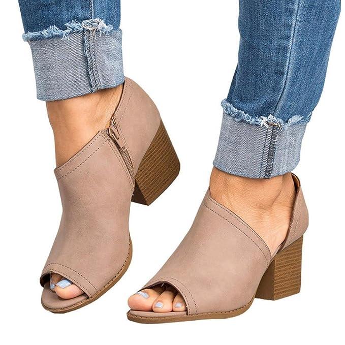 Liquidación Sandalias de Tacón de mujer Covermason Sandalias de Tacón de Bloque de Peep Toe con