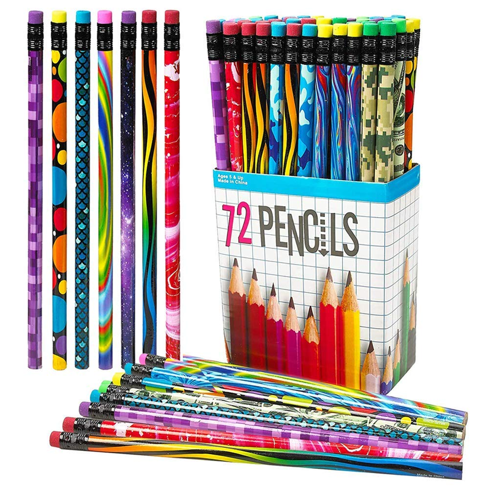 ArtCreativity 72 PC Pencil Assortment for Kids, Fun Assorted Number 2 Pencils, Bulk Wooden Writing Pencils with Durable Erasers, Teacher Supplies for Classroom, Student Reward, Stationery Party Favors by ArtCreativity