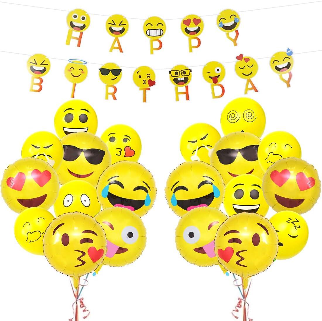 Emoji Kit Decorations D Anniversaire Emoji Mylar Ballons Smiley Visage Joyeux Anniversaire Banniere Pour Enfants Fete D Anniversaire Fournitures Amazon Fr Jeux Et Jouets