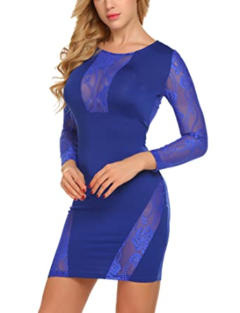 Image Unavailable. Image not available for. Color  ACEVOG Women s Sexy Long  Sleeve Crewneck Lace Mesh See Through Bodycon Party Clubwear Dress b19a91a71