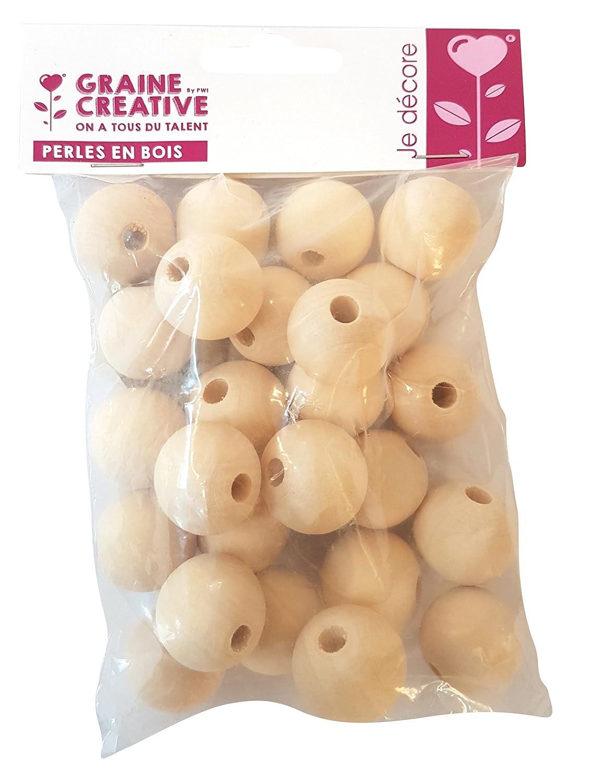 Perle en bois Ø 40 mm Boule percée Ø 8 mm 10 pièces - Graines créatives Graine Créative