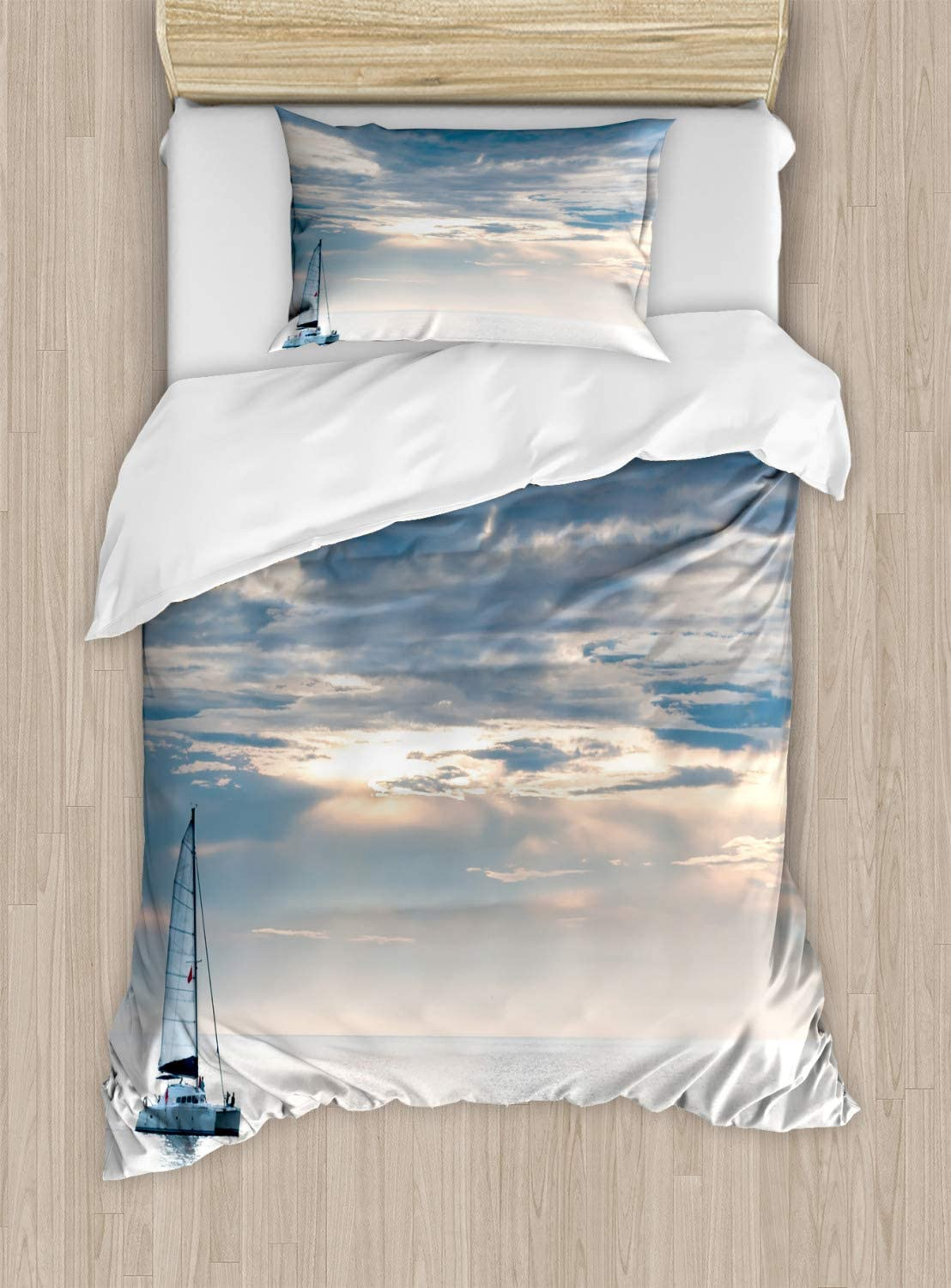 Ambesonne Nautical Duvet Cover Set, Sailing Yacht in The Morning Time on Tranquil Seascape Cloudy Sky Peaceful Marine Image, Decorative 2 Piece Bedding Set with 1 Pillow Sham, Twin Size, Blue