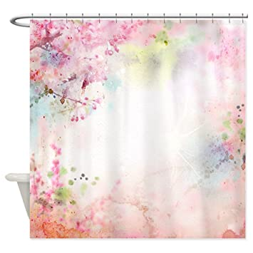 Great CafePress   Pink Watercolor Floral   Decorative Fabric Shower Curtain