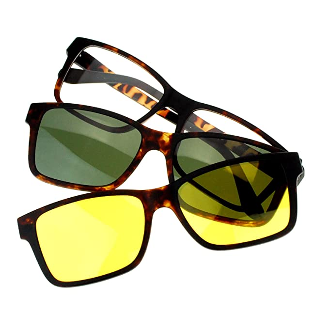 d66f45aac10 Amazon.com  Magnetic Polarized Antiglare Driving Lens Clip On Sunglasses  Optical Glasses Tortoise  Clothing