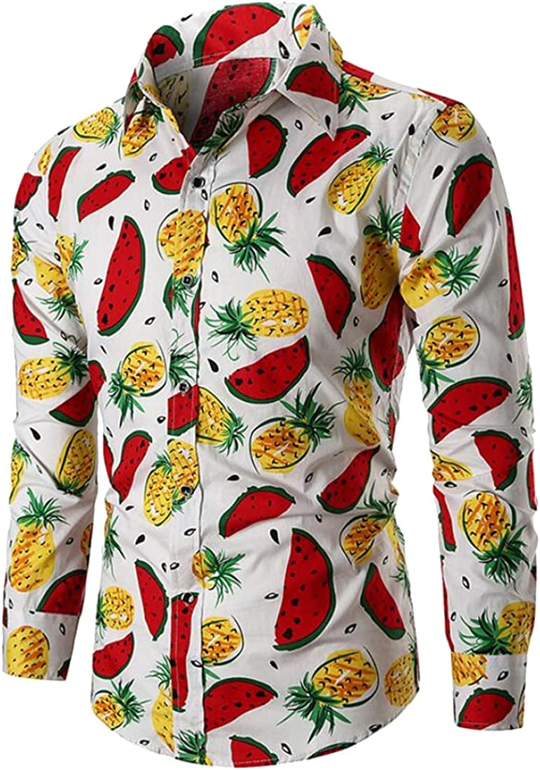 Teapolity Mens Trendy Floral Lapel Collar Watermelon Long Sleeve Pineapple Button Down Shirts