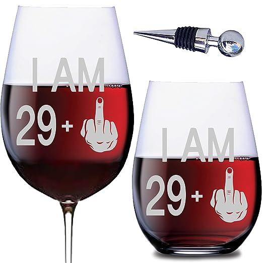 Set de regalo de 50 cumpleaños - copas de vino sin tallo y ...