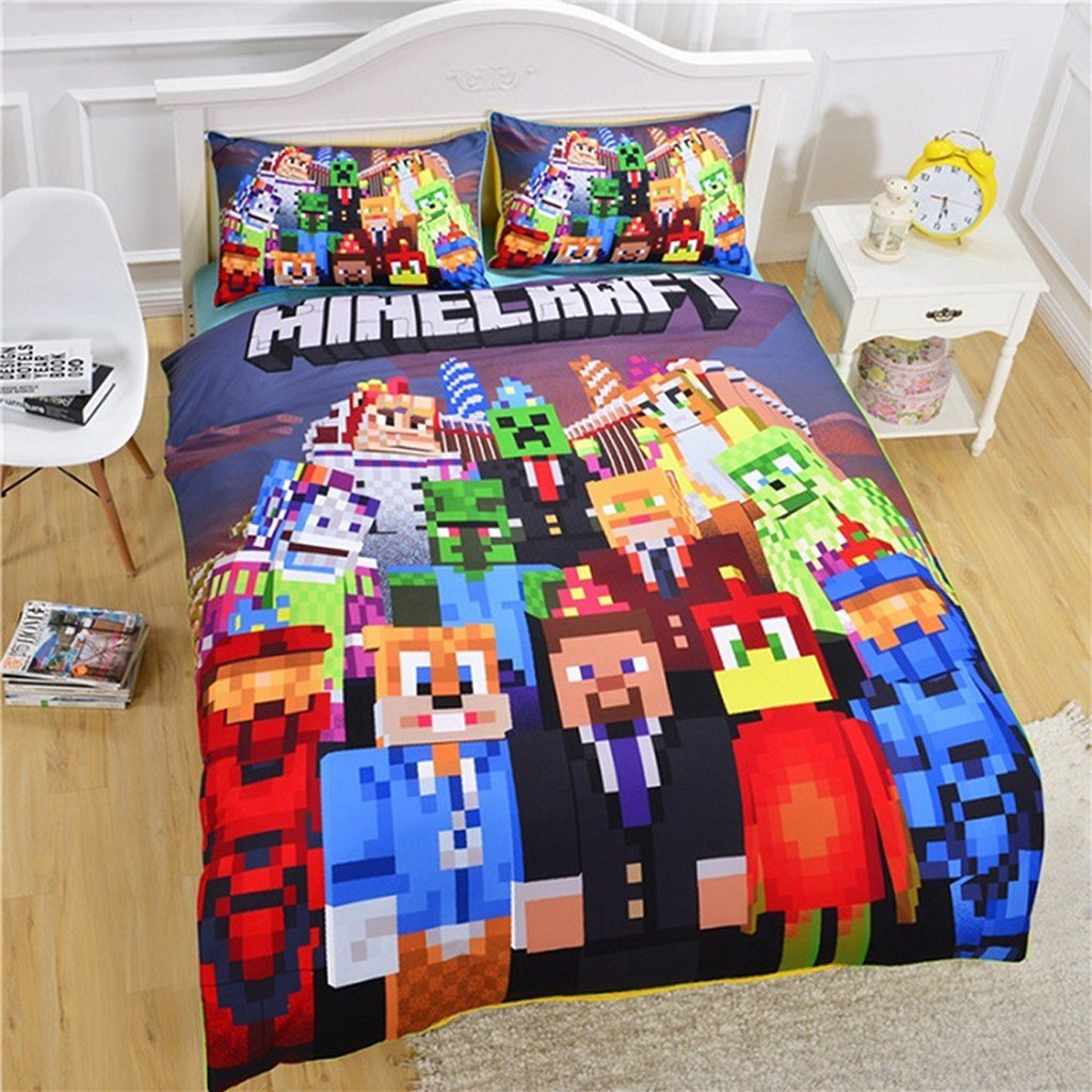 100% Cotton, 2pcs Minecrafts Duvet Cover Set Bedding Set for Children,Green Cotton Health and Comfort, Breathable and non-fading,Extremely Durable- 1 Duvet Cover + 1 Pillow Shams Twin,Carnival