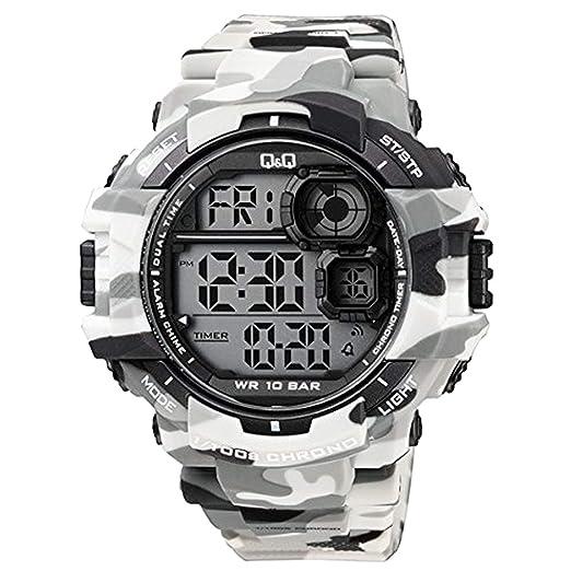 Q&Q - Reloj de Pulsera Digital para Hombre con Correa Camo, 100 m, Resistente