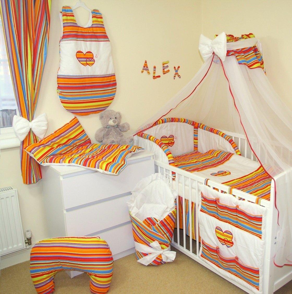 10 tlg BABY BETTWÄSCHE BETTSET MIT STICKEREI (15 FARBEN) (fürs BABYBETT 120/60 cm, 1. Orange Streifen / Weiß) Baby' s Comfort