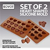 KOVOT Heart Shaped Silicone Molds - Set of 2 - Creates Heart-Shaped Chocolate, Jell-O, Candy or Ice Cubes