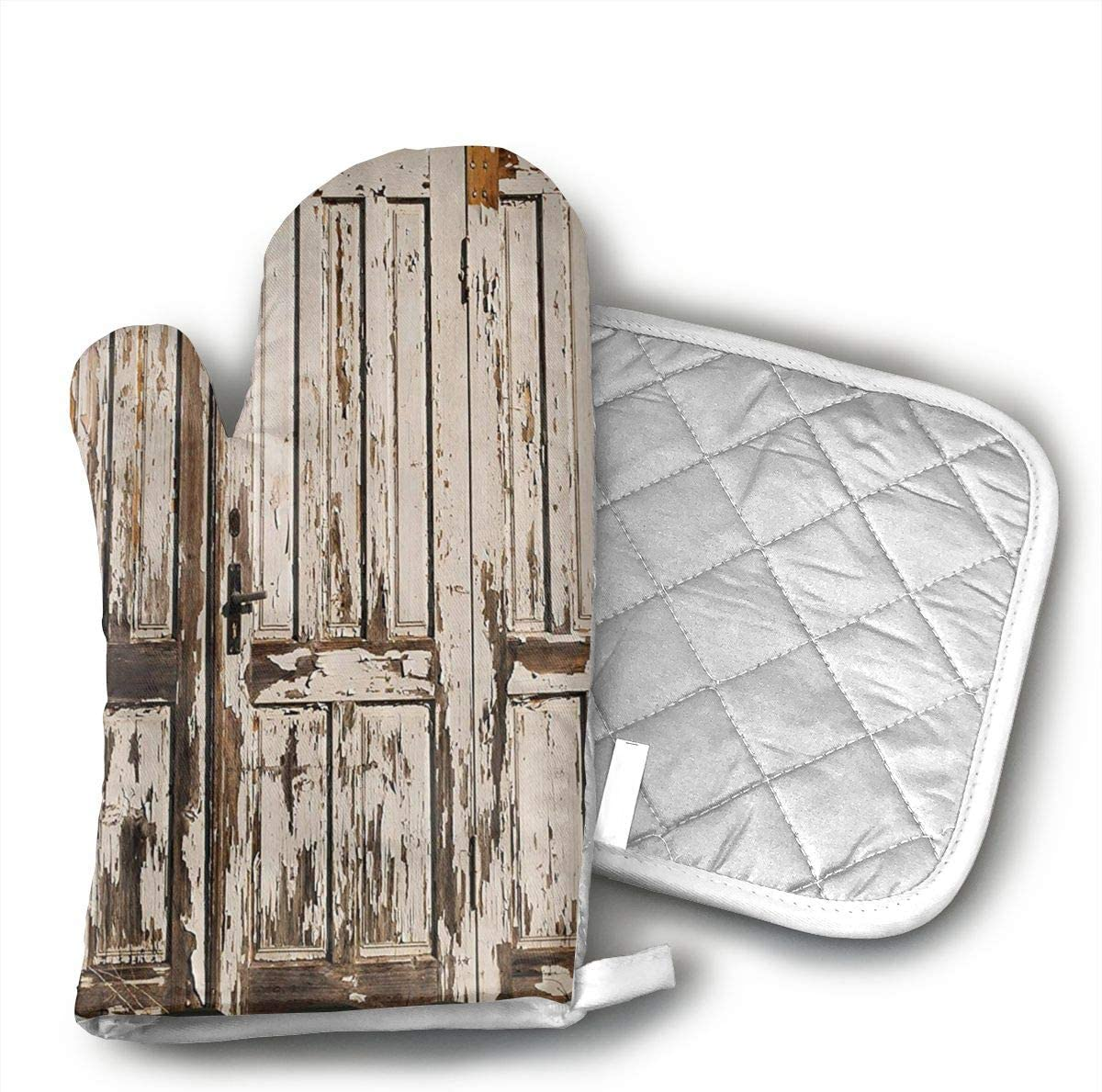 Wiqo9 Vintage House Entrance with Vertical Old Planks Distressed Rustic Hardwood Design Oven Mitts and Pot Holders Kitchen Mitten Cooking Gloves,Cooking, Baking, BBQ.