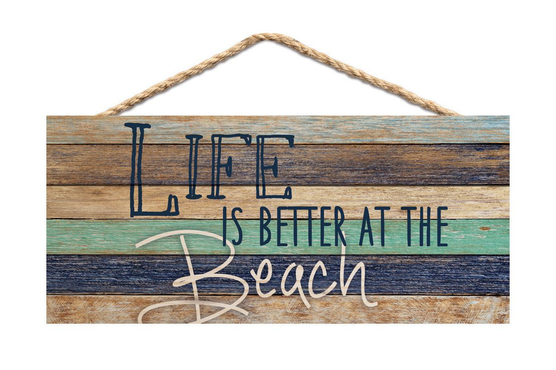 Life is Better at the Beach Aqua Blue Lath 10 x 4.5 Wood Wall Hanging Plaque Sign