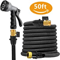 Expandable Garden Water Hose Pipe- Liwiner 50FT 3 Times Expanding Flexible Magic Lightweight Hose Pipes Reel with 8 Prayer Gun for Washing Car