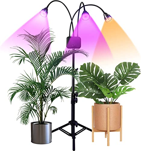 Grow Lights with Stand,Juhefa Full Spectrum Tri-Head 60W LED Floor Plant Light for Indoor Plants,Timing 3 9 12H,Tripod Adjustable 15-47 inch