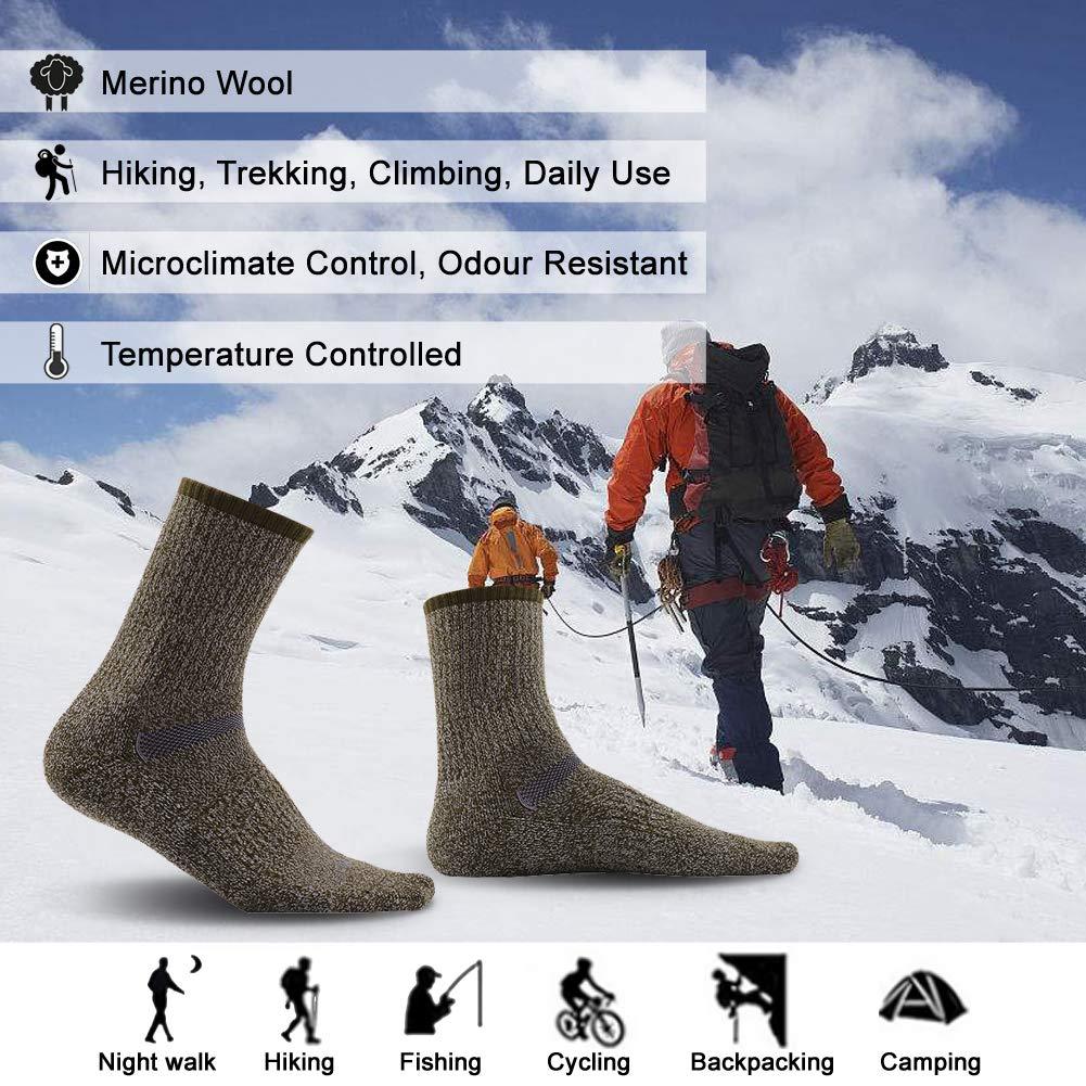 3 6 Pairs MK MEIKAN Thermal Insulated Outdoor Wick Dry Lightweight Stripe Liner Socks for Men 6 Pairs Navy Blue MK51080602 66.6/% Merino Wool Hiking Socks MK MEIKAN Mens Trekking Cushion Crew Socks 1