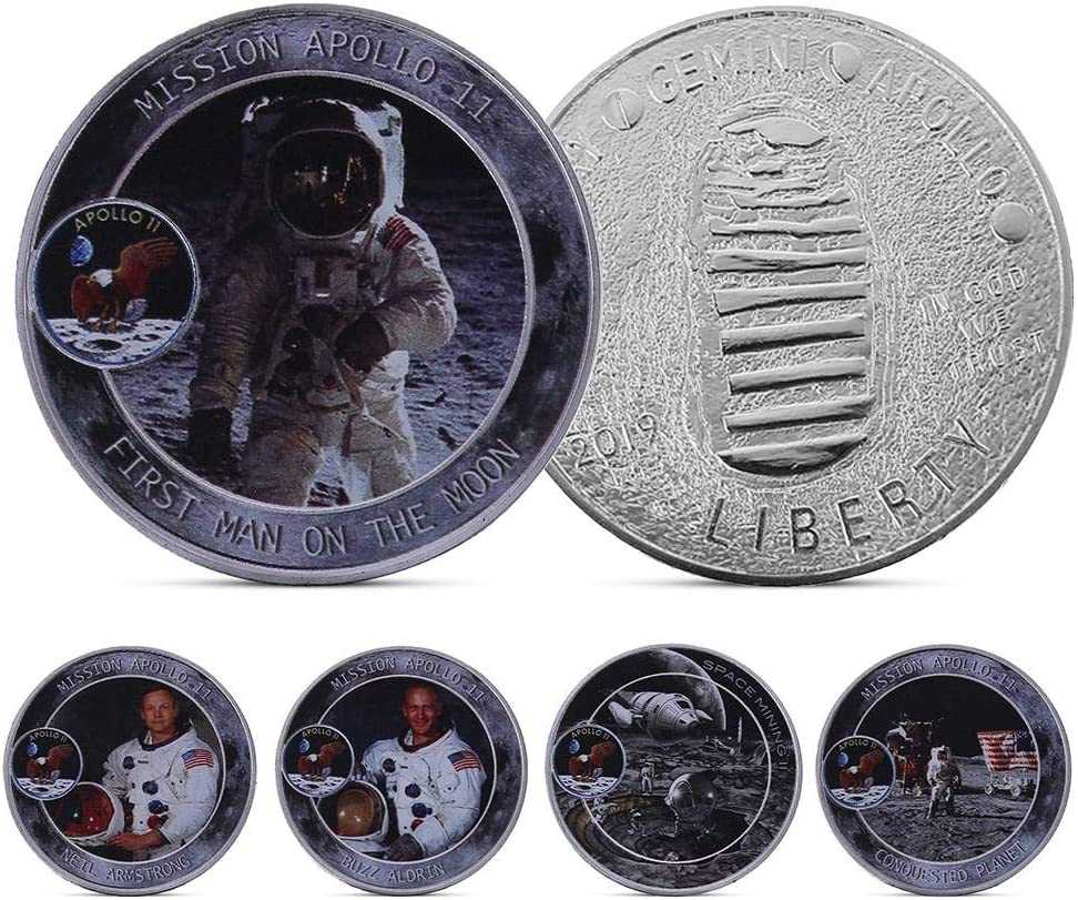 5PCS Fat Bear 2019 Apollos 50th Anniversary Commemorative Coin Aerospace Space Coin Crafts Medal Badge