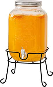 RESYOTE Glass Beverage Drink Dispenser Metal Stand Mason Jar with Lid 2 Gallon, Entertainment Glassware Pitcher for Water, Juice, Beer Wine Liquor, Kombucha & Cold Drinks, Huge, Clear