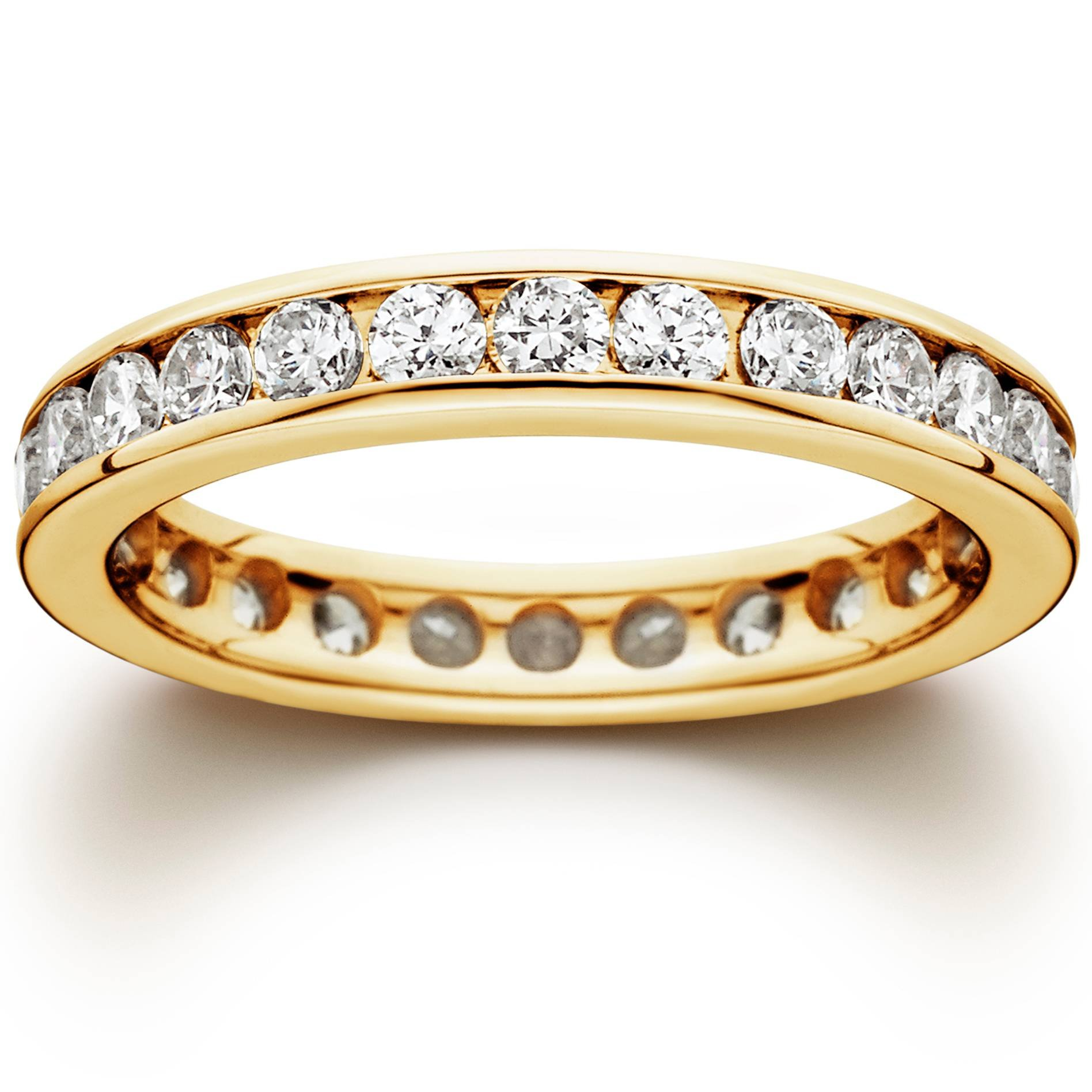1 1/2 CT Channel Set Eternity Diamond Ring 14K Yellow Gold - Size 9