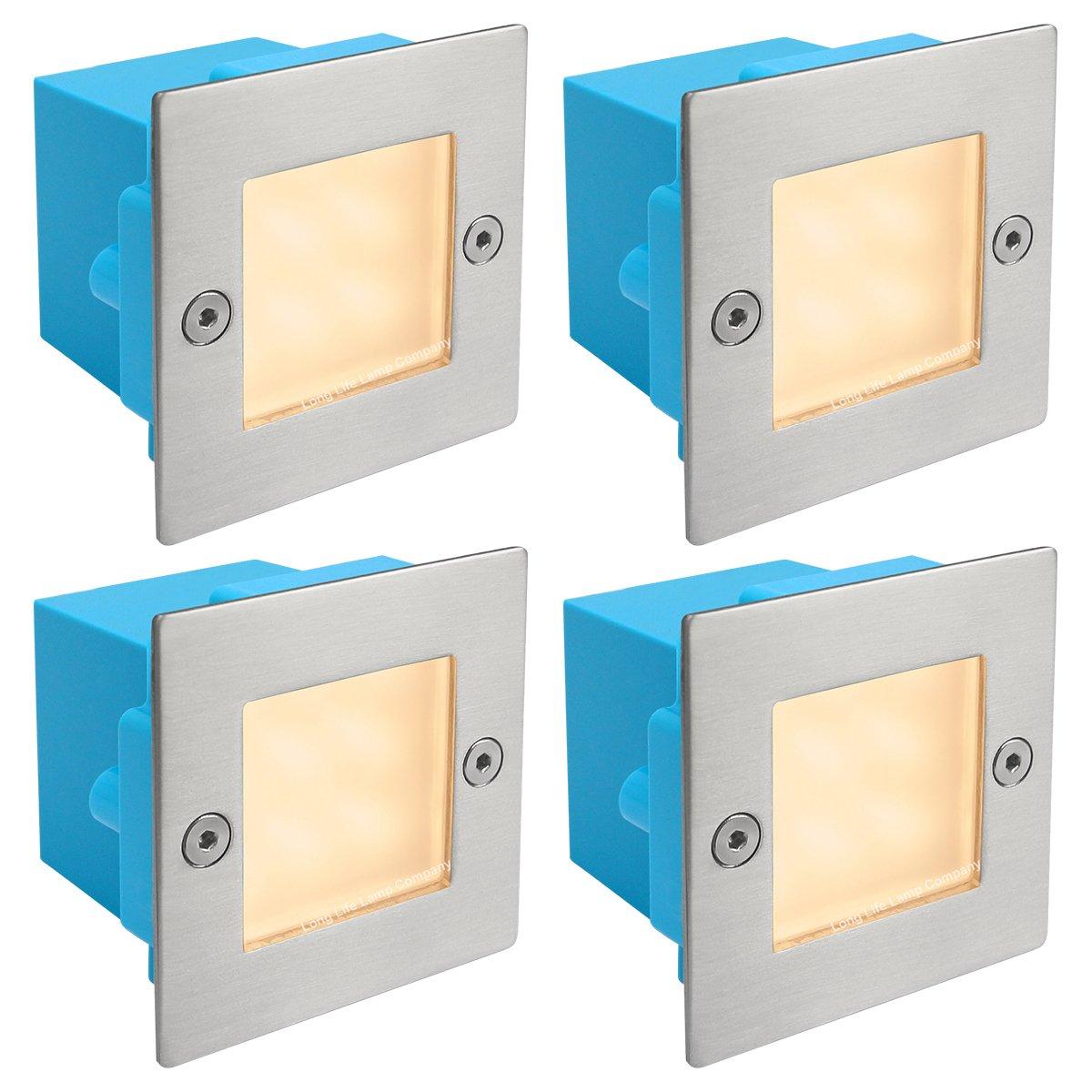 4 x Mini Brick Light LED Outdoor Step Light 70mm Square IP54 Warm White Recessed Wall Light ZLC051WW