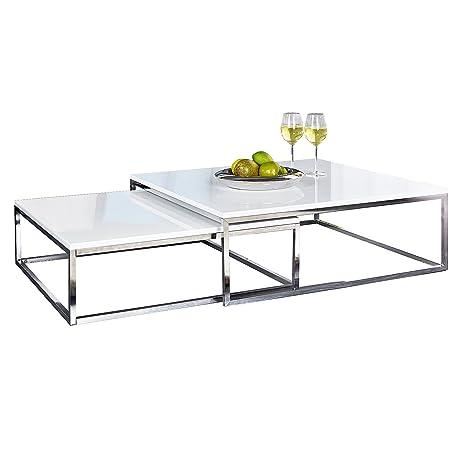 Design Couchtisch 2er Set Elements Hochglanz Weiss Chrom Tische Beistelltische Wohnzimmertisch