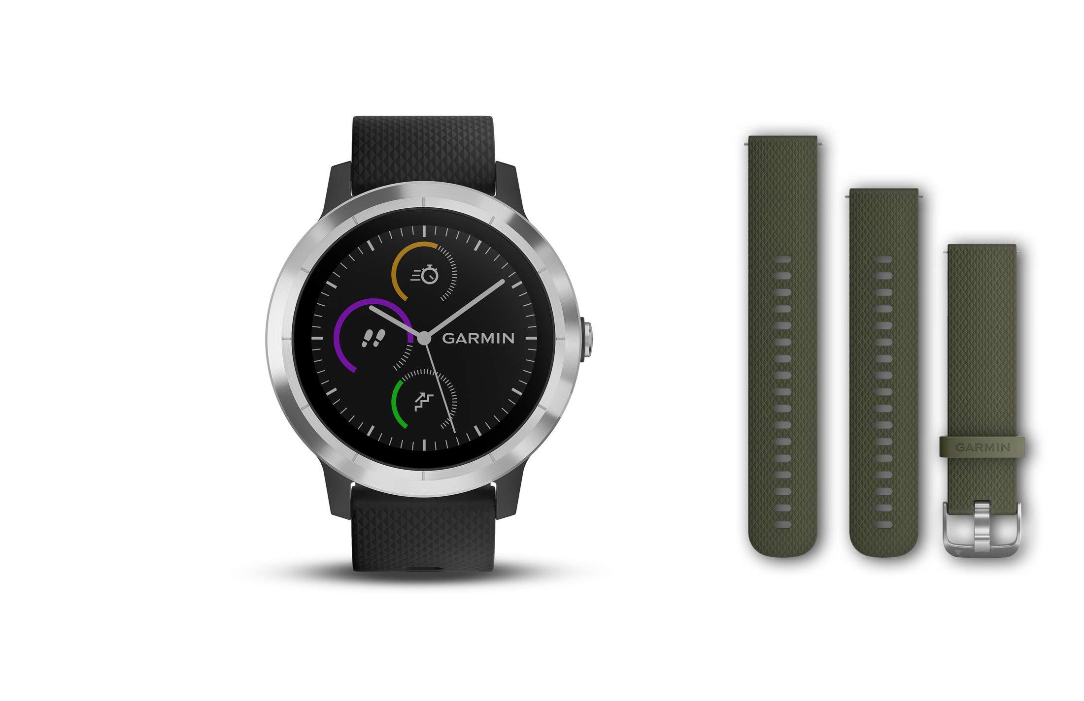 Garmin vivoactive 3 Smartwatch GPS con profili sport, cardio al polso, schermo touch a colori e pagamento contactless - Nero Silver, con cinturino Nero e Verde product image