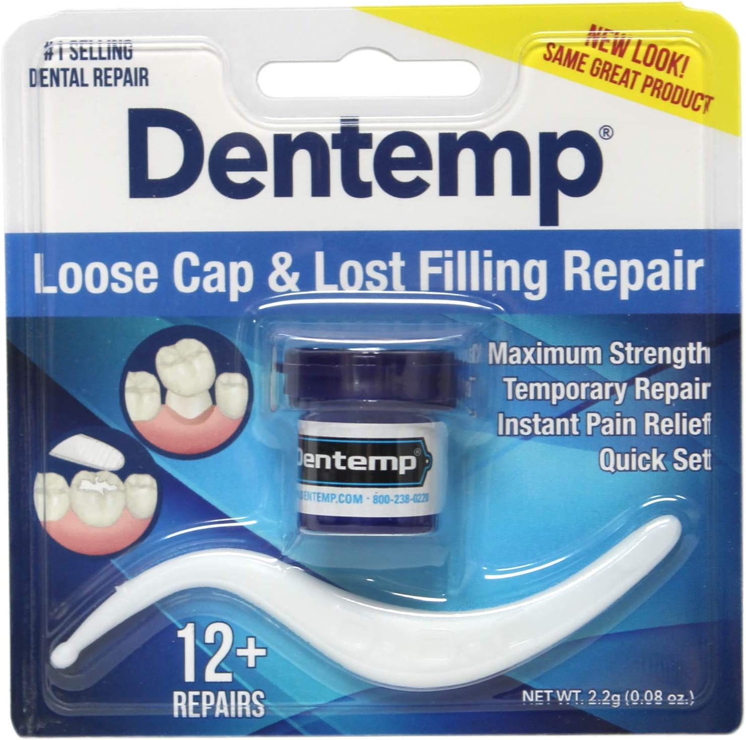 Dentemp Maximum Strength Lost Fillings and Loose Caps Repair, Instant Pain Relief, Dentist Used and Recommended, 12 uses, 0.07 Ounce
