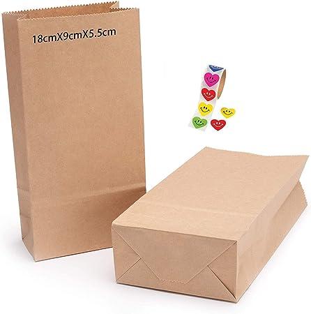 a ray of sunshine Bolsas Papel Kraft,Bolsas Kraft Mediana,Bolsa Biodegradable Regalos,Bolsas de Papel Regalo,Pequeñas Bolsas de Regalo,para Invitados o para Guardar Comida(100pcs) (18 * 9 * 5.5): Amazon.es: Hogar