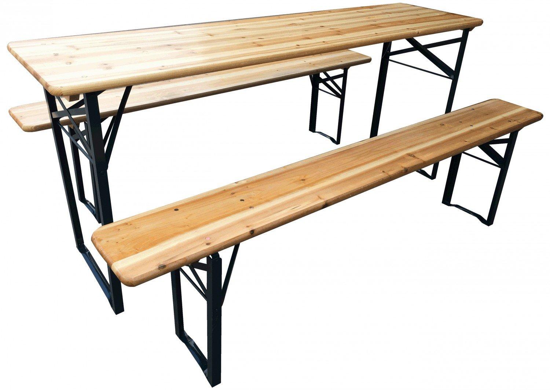 Bierzeltgarnitur klappbar, 3 teilige Sitzgruppe - Biertisch und Bänke, Garten Festzeltgarnitur L177 x B46/23 cm