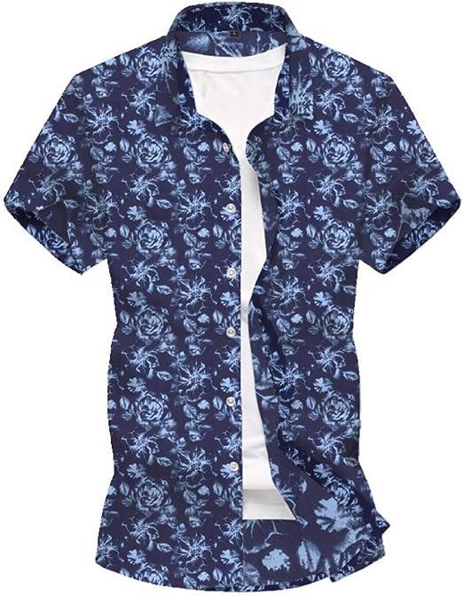ARTFFEL Camisa de los Hombres Camisa Flor de la Playa Partido de Vacaciones de Camisa Ocasional de la impresión Mangas (Color : Blue, Size : 3XL): Amazon.es: Hogar