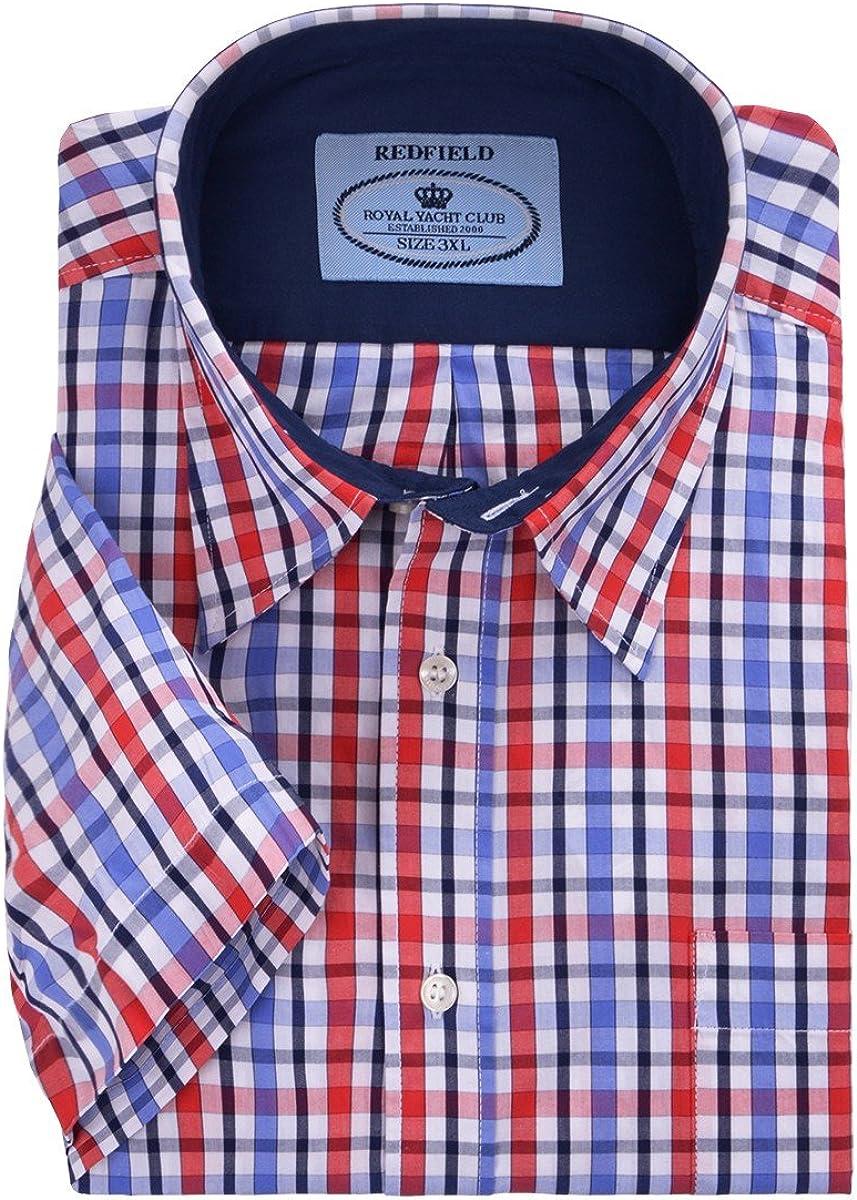 Redfield Camisa Manga Corta Rojo-Azul-Blanco Cuadros Blanco ...
