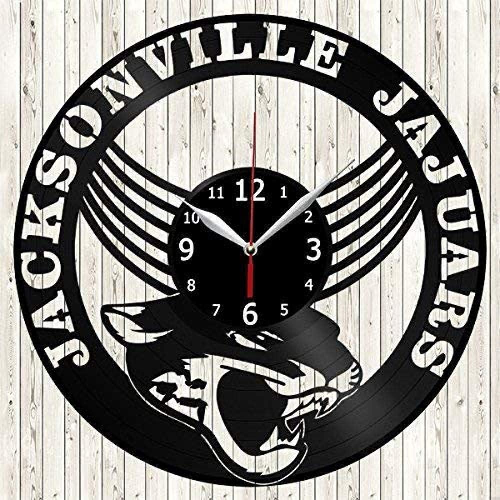 HCPGZ Jacksonville Jaguars Footboll Teem Handmade Vinyl Kitchen Wall Wall Clock - Obtenga Regalos para Ideas de cumpleaños para niños Niñas Hombres Mujeres Adultos Él y Ella - Deporte Diseño único