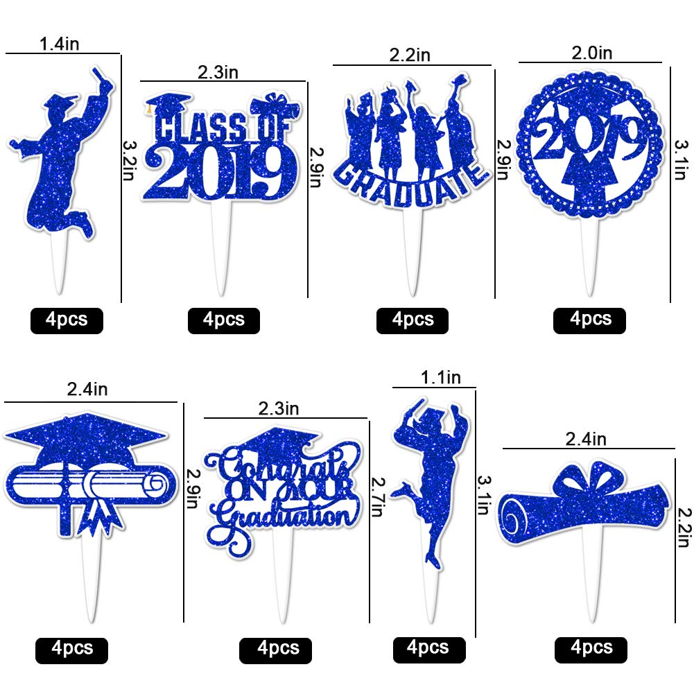 2019 Graduation Cupcake Wrappers and Toppers -Graduation Party Decoration,32 Piece Glitter Blue Cupcake Toppers For Class Of 2019 Congrats Grad Party Birthday Party Supplies Favor by Threemart (Image #3)
