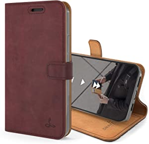 Snakehive Vintage Wallet for Apple iPhone 12 Mini || Real Leather Wallet Phone Case || Genuine Leather with Viewing Stand & 3 Card Holder || Flip Folio Cover with Card Slot (Plum)
