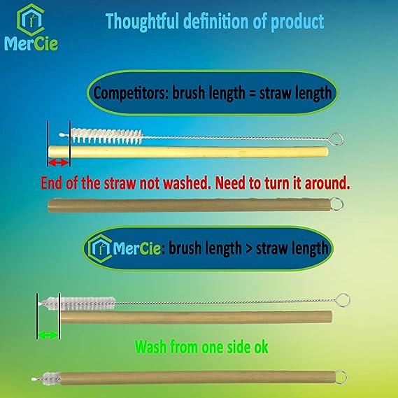 Paja de bambú biodegradable y reutilizable, verde, 20 cm + cepillo ...