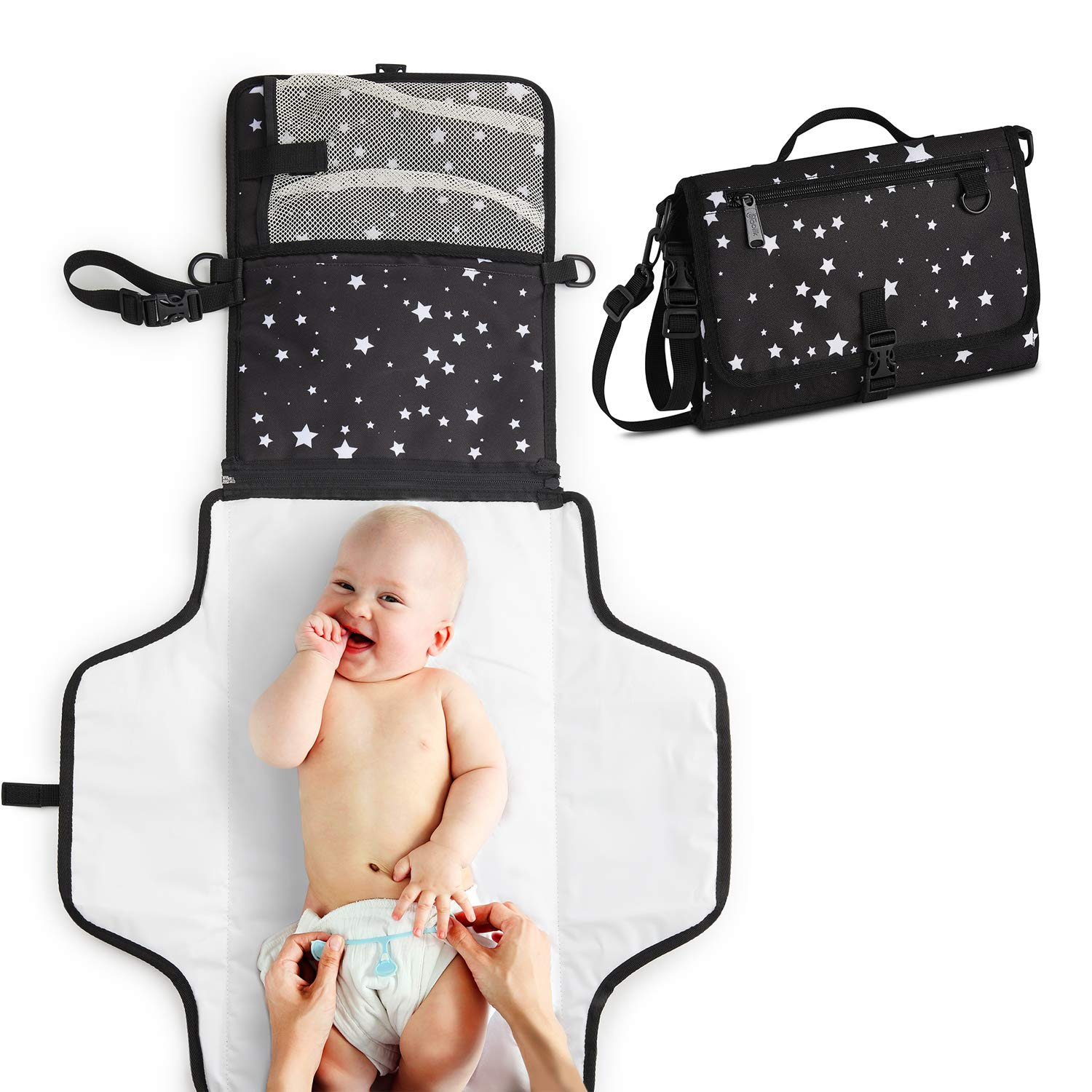 Toolik Baby Diaper Clutch with Waterproof Portable Changing Pad for Quick Change During Stroller Walks - Foldable, Detachable and Wipeable Mat Station with Shoulder Strap, Black with White Stars by Toolik-Parenting Made Easy