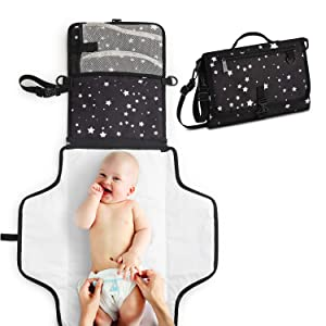 Toolik Baby Diaper Clutch with Waterproof Portable Changing Pad for Quick Change During Stroller Walks - Foldable, Detachable and Wipeable Mat Station with Shoulder Strap, Black with White Stars