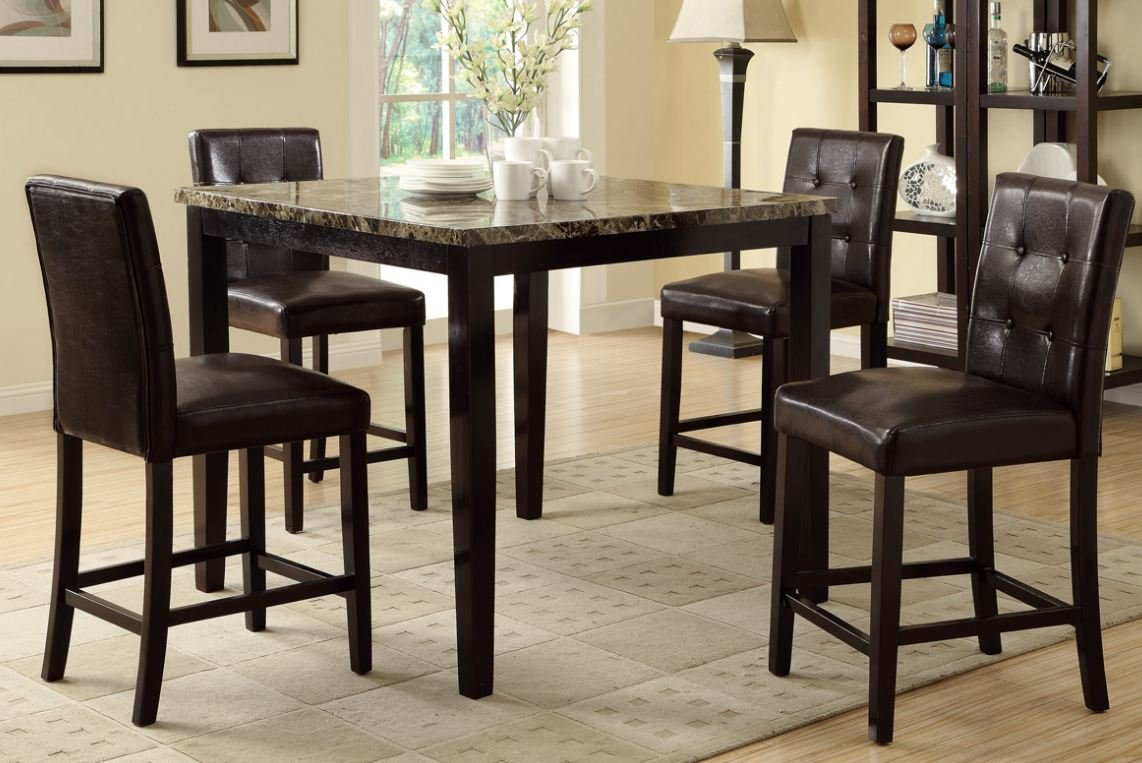 Amazon.com - Counter Height Dining Table and 4 High Chairs By Poundex - Tables : counter dining table set - Pezcame.Com