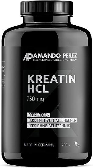 Buffered Creatin HCL- 750 mg - creatina tamponada HCL - alta dosis y pura - 240 cápsulas