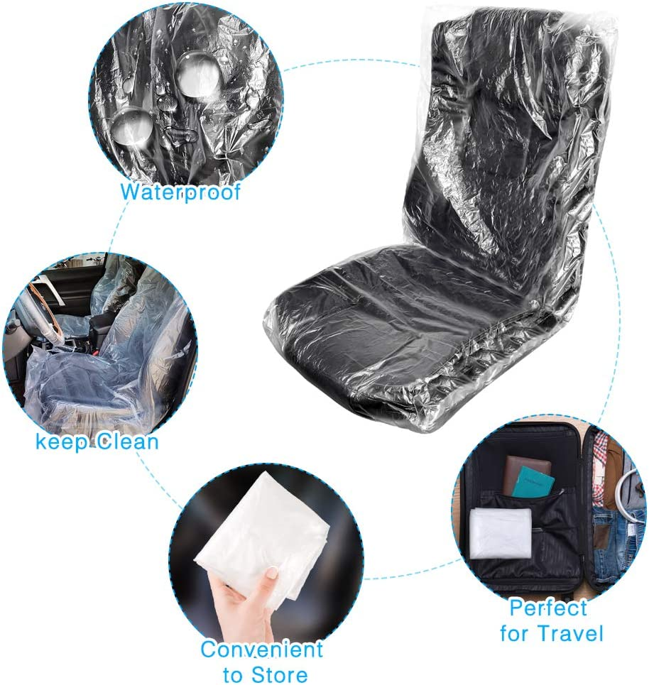 Disposable Plastic Seat Covers Yotako 17 Packs Car Airplane Seat Protector Waterproof Chair Covers Protection Travel Set from Dirt Mud and 2 Steering Wheel Covers