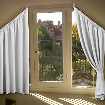 Amazon Com Room Darkening Angled Window Curtains Nicetown Solid