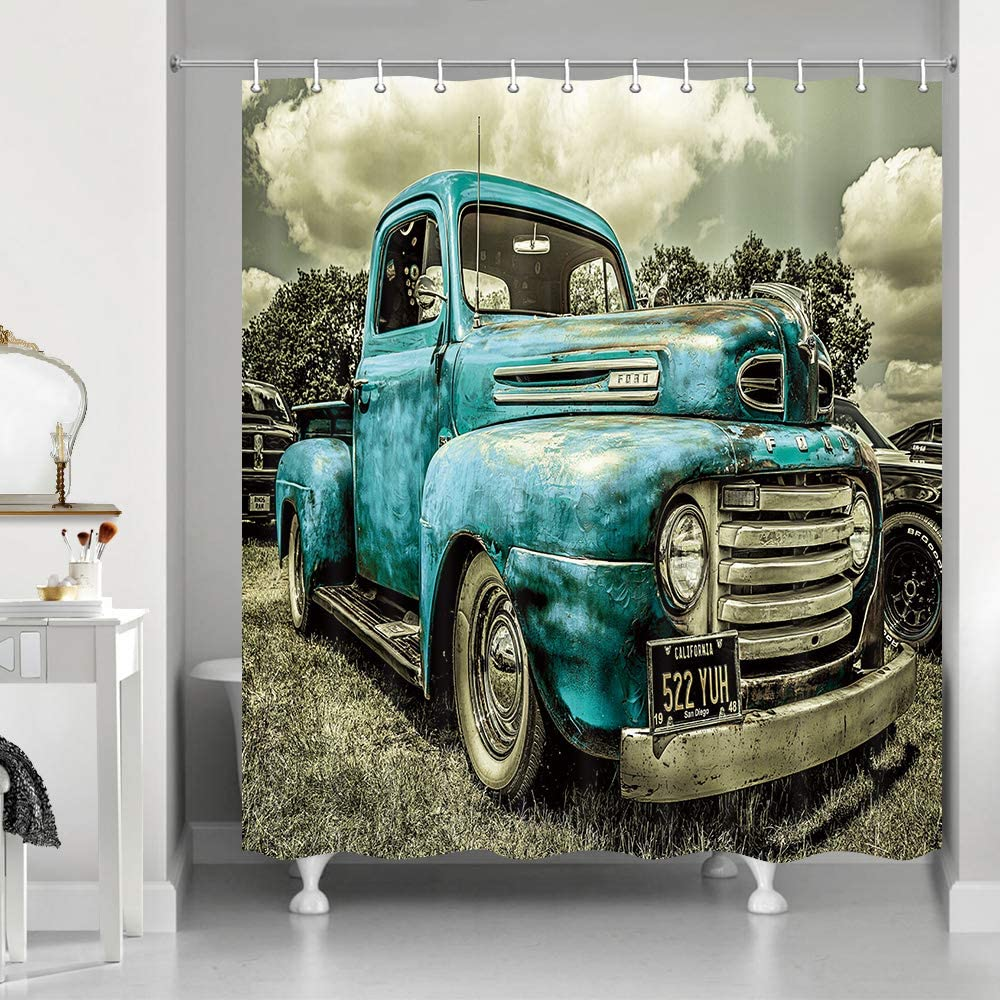 NYMB Antique Car Shower Curtains, Custom Vintage Old Truck Car Decor, Polyester Fabric Blue Rustic Car Shower Curtain Set Fantastic Decorations Bath Curtain, 69X70in