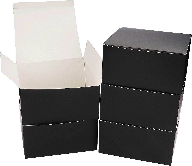 Pack de 10 Cajas kraft Negras - Cajas Regalo Carton Tamaño 20x20x10cm Cajas Regalos con Tapa para Magdalenas, Manualidades, Damas de Honor Cajas Negras: Amazon.es: Oficina y papelería