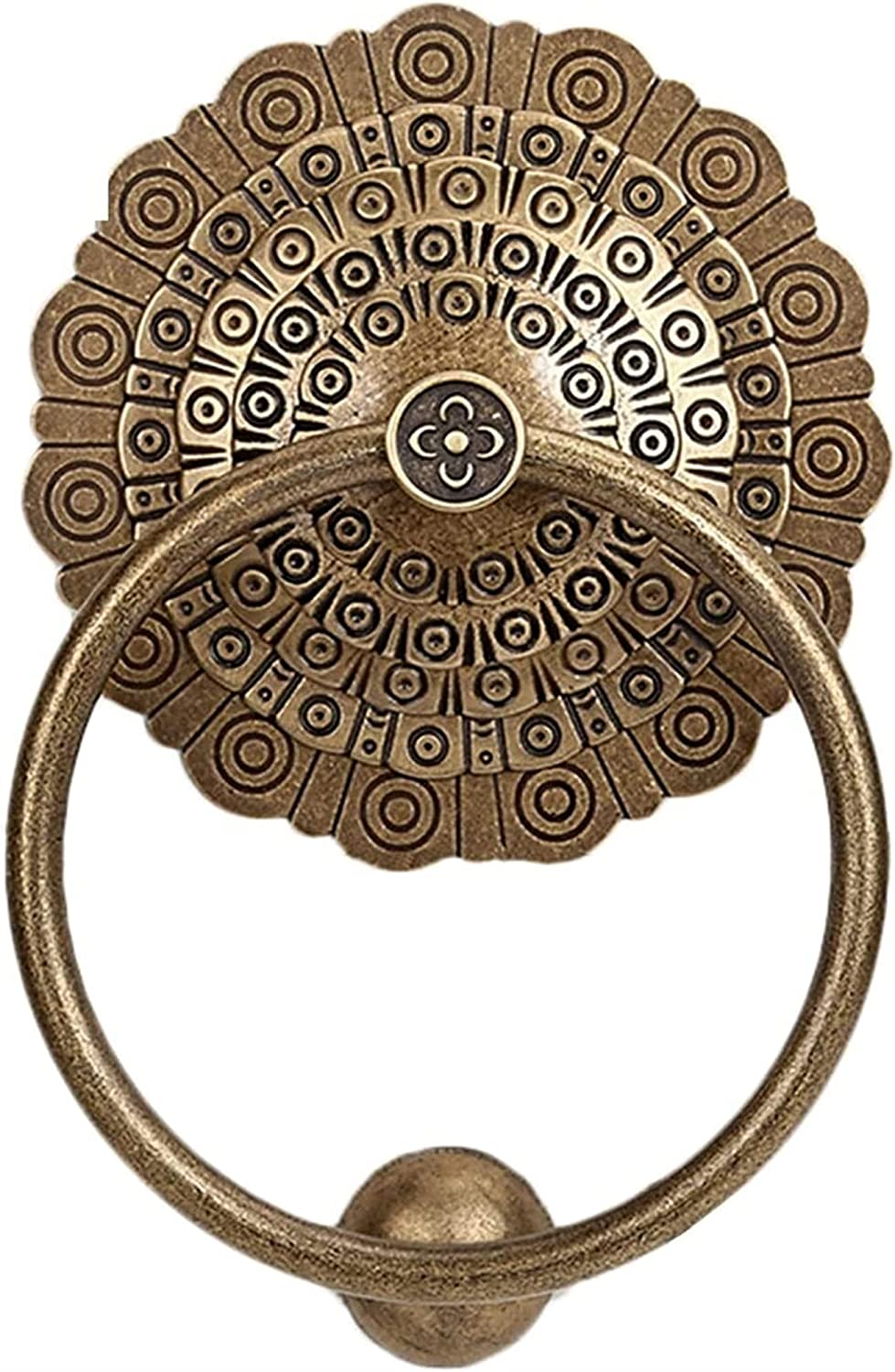 XJZM Antique Furniture Handle Wardrobe Pull Ring,Deluxe Wall Decor Brass Door Knockers Sign, for Factory, Hotel, Office Cupboard, Garden, Brown Gate Knocker Artisan Made Home Decor Acces