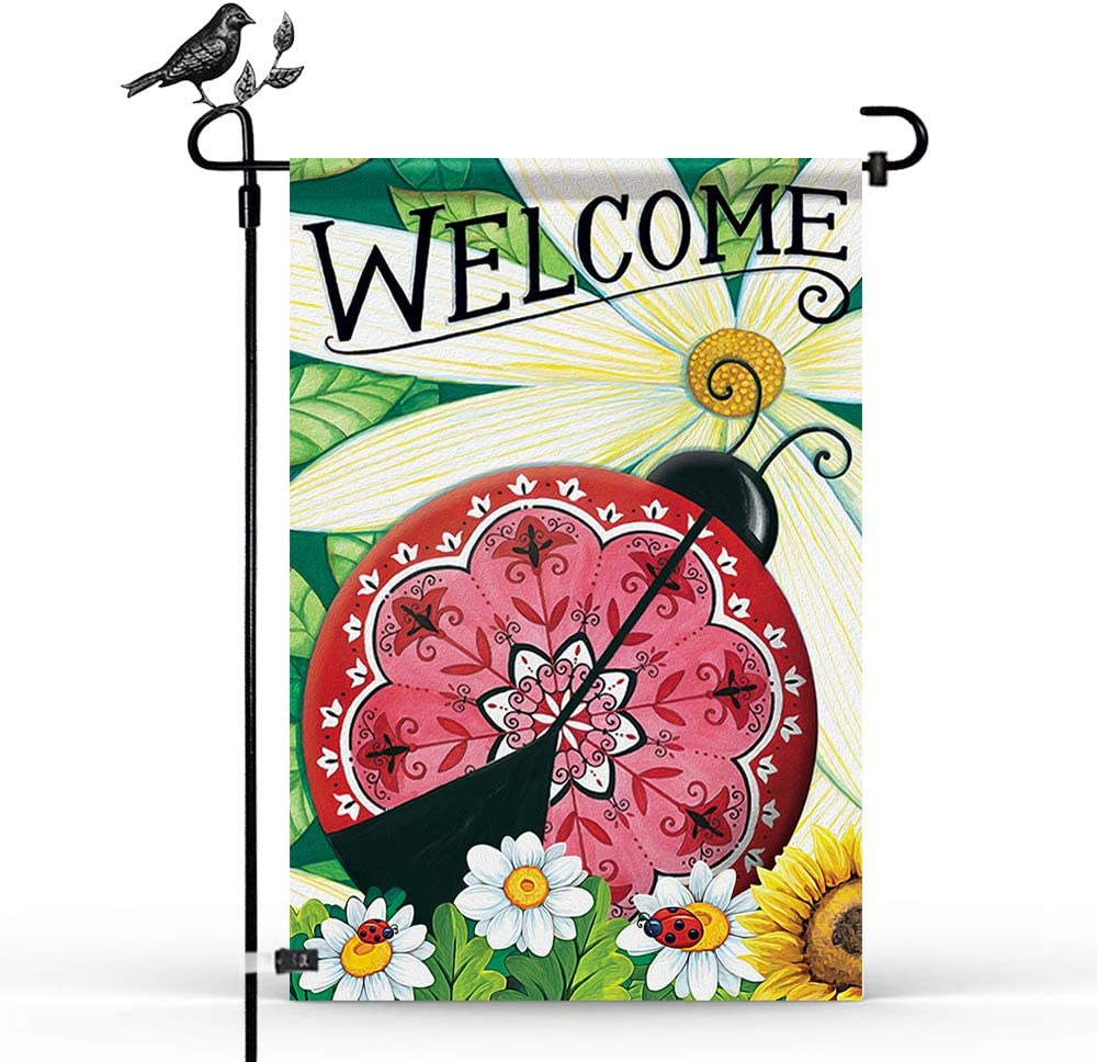 Sunflower Ladybugs Welcome Garden Flags, Vertical Double Sided 12.5 X 18.5 Inch Summer Fall Farmhouse Burlap Yard Outdoor Decor to Brighten Up Your Home
